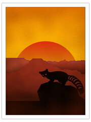 ringtail cat + canyon sunset | postcard template