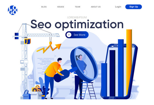 Seo optimization flat landing page. Analytics team carefully studying information with big magnifying glass vector illustration. Search engine optimization web page composition with people characters
