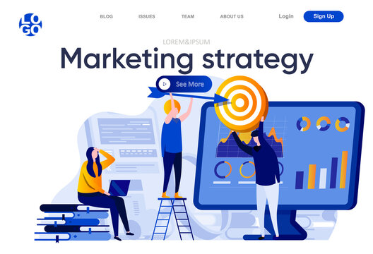 Marketing strategy flat landing page. Marketing team doing target audience research vector illustration. Data analysis and finding potential customers web page composition with people characters