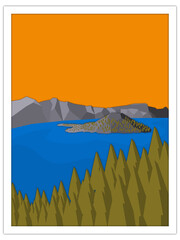 volcanic lake | postcard template