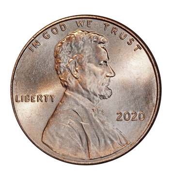 American 2020  penny with portrait of President Lincoln