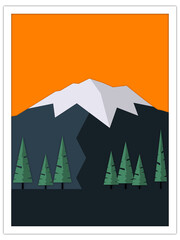 glacier-capped mountain | postcard template