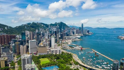 Wall Mural - Aerial view of Hong Kong city, timelapse