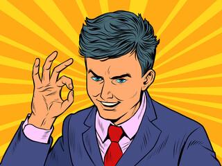 Businessman OK gesture