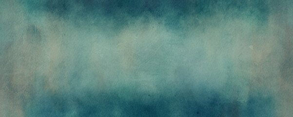 Wall Mural - old blue background with faded watercolor vintage texture in antique grunge website or textured paper design, distressed watercolor painting with dark border