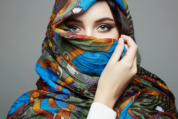 beautiful young woman in colorful hijab