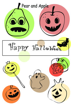 Pear and Apple, Ghost cookie, Lollipop, Apple slice with strawberry tongue , Ghost ravioli, pumpkin candy, Halloween doodles, colored, hand drawn, isolated on white background