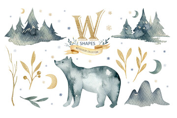 Wall Mural - Watercolor winter forest with bear. Christmas tree landscape with Pine Trees fir in the Mountains. Hand painted Isolated on white Background. Snow holiday design