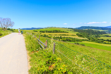 Cycling road from Kacwin to Lapsze Nizne village in Tatra Mountains on beautiful summer sunny day, Poland