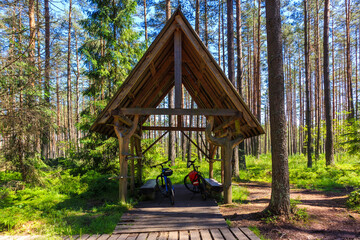 Bicycles parked in small shed for tourists among swamp area in green forest near Nowy Targ town, Podhale region, Poland