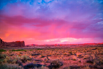 Surreal sky after thunderstorm in Arches National Park, Utah