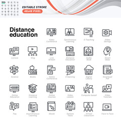 Thin line icons set of distance education. Premium quality outline symbols, editable stroke. Pixel perfect. Vector illustrations for website and app development, business presentation, marketing.