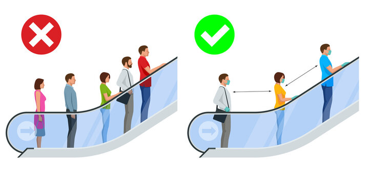 Keep your distance on the escalator, epidemic Covid-19. Social Distancing. Wearing a surgical protective Medical mask for prevent virus Covid-19
