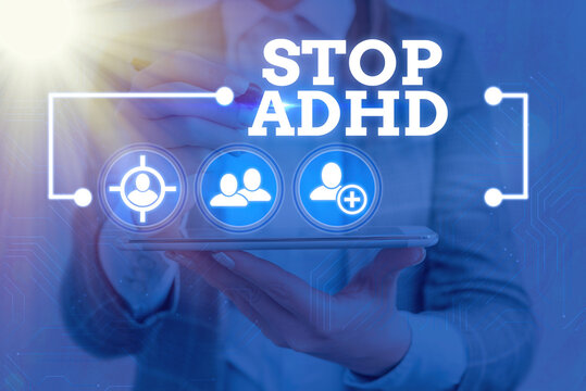 Text sign showing Stop Adhd. Business photo showcasing treat a disorder that affects the brain and behaviors of a child Information digital technology network connection infographic elements icon