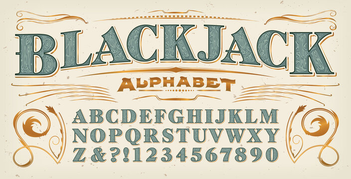 A Vintage Style Font; Blackjack Alphabet with Additional Gold Flourishes