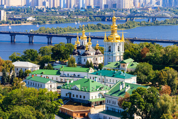 View of Kiev Pechersk Lavra (Kiev Monastery of the Caves) and the Dnieper river in Ukraine. View from Great Lavra Bell Tower