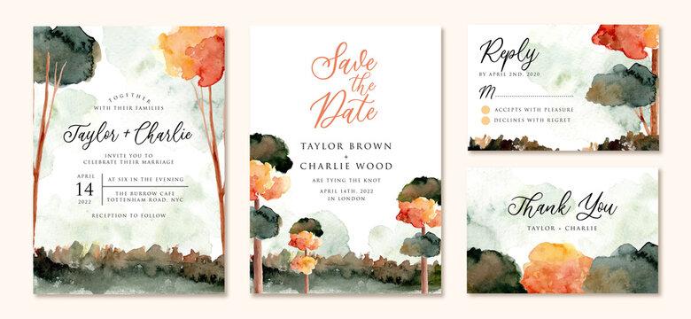 wedding invitation set with autumn tree landscape watercolor