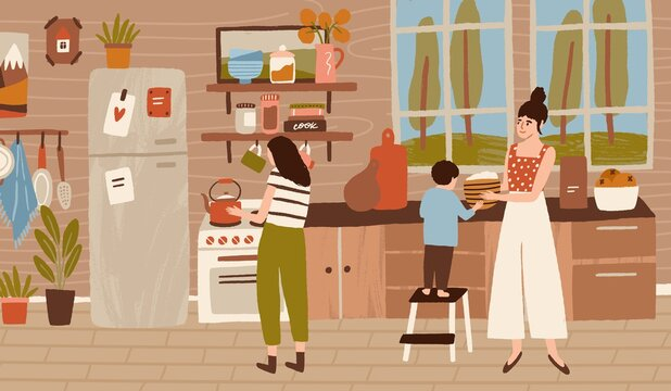 Happy family cooking dinner at kitchen together. Mother, daughter and child doing housework, household, preparing food, lunch. Home scene of daily routine, life. Flat vector cartoon illustration