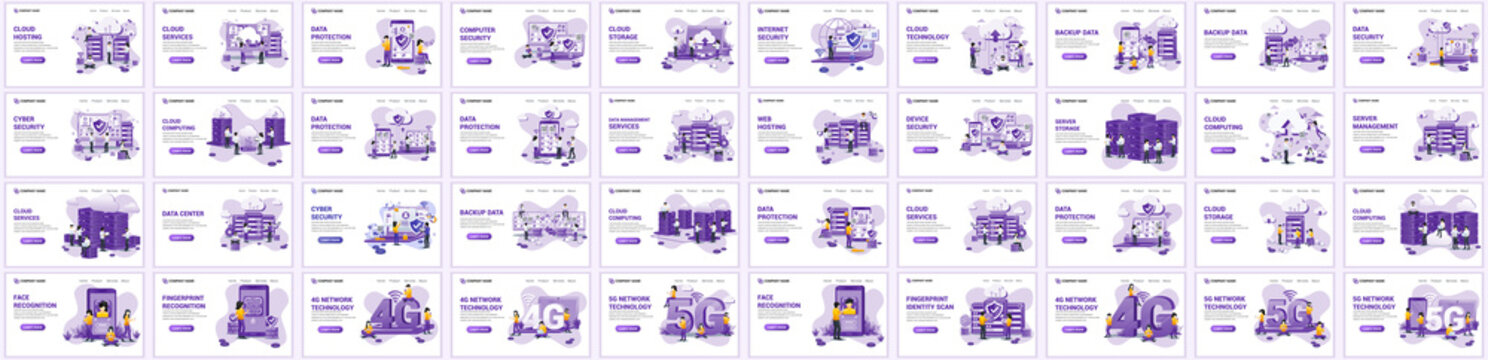 Big collection concept of cloud computing, digital storage,  flat vector illustration. Set of landing page design templates, can use for web banner, infographics, landing page, web template
