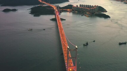 Wall Mural - Tsing Ma Bridge, aerial view, evening