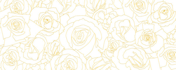 Pattern from roses buds in outline style. Vintage vector background. Template for banner or cover