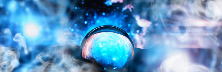 Astrological background. Crystal ball with predictions. Horoscope of the stars. Fortune telling and determination of fate. Soothsayer with a crystal ball.