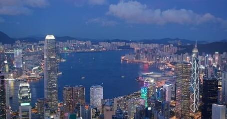 Wall Mural - Hong Kong city skyline landmark at sunset time