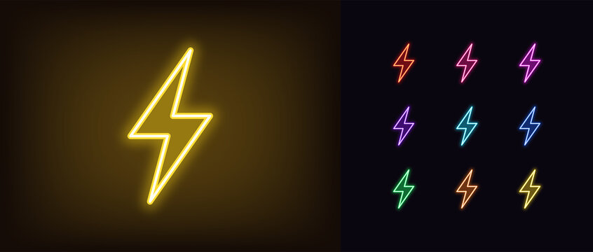 Neon lightning flash icon. Glowing neon thunder bolt sign, electrical discharge