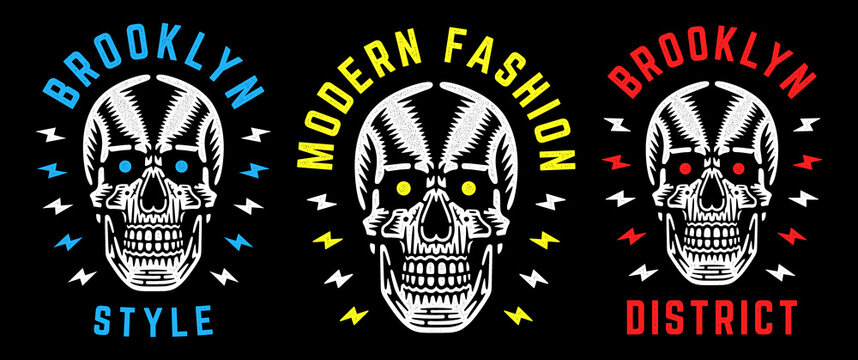 Vintage white skull. Retro print for t-shirt. Brooklyn modern fashion.