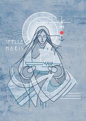 Virgin Mary Star of the Sea hand drawn illustration
