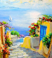 A small town with streets and flowers with the Mediterranean sea on the background under the bright rays of the sun. Sea landscape, oil painting on canvas.
