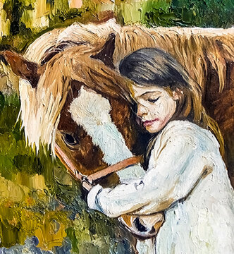Pretty little girl hugs her friend horse in the bright summer day. Oil painting on canvas