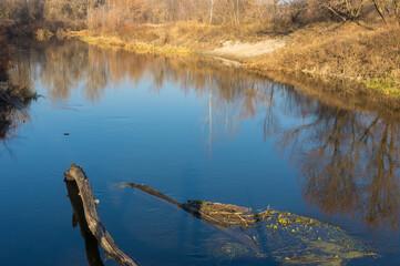 Beautiful morning landscape on a Vorskla river at late autumn, Poltavskaya oblast, Ukraine