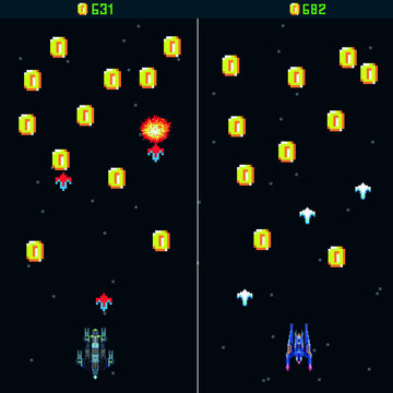 Pixel space game with coins. Pixel art, arcade game. template. A retro 8-bit game inspired by the trendy 90s. Space place. Battles under the stars. Old computer games. vector illustration