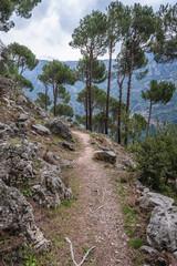Path on the slopes above Kadisha Valley also spelled as Qadisha in Lebanon