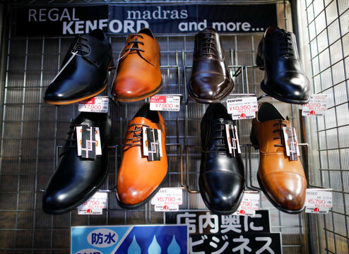 Formal leather shoes are displayed at a shop amid the coronavirus disease (COVID-19) outbreak in Tokyo