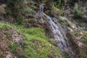 Waterfall near Monastery of Our Lady of Qannoubine in Kadisha Valley also spelled as Qadisha in Lebanon