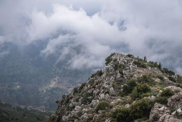 Kadisha Valley also spelled as Qadisha seen from BLouza village in Lebanon