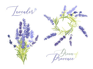 Lavender illustration wreath ith herbs and lettering. Watercolor outline vintage sketch on white background. Vector botanical paking or card design.