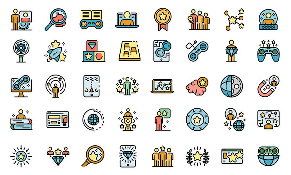 Gamification icons set. Outline set of gamification vector icons thin line color flat on white