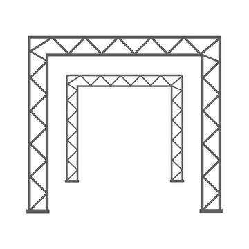 Steel truss girder 3d construction equipment. Metal framework isolated vector illustration. Framework steel, schematic material prefabricated project