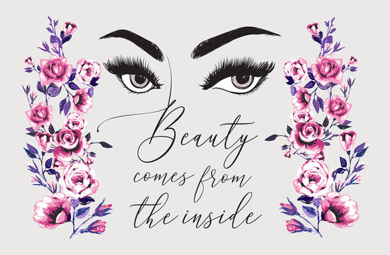 Eyebrow and eyelash of woman, flower rose branch, beauty salon quote. Vector fashion illustrations. Beautiful graphic on white background. Design for logo, t shirt and uniform for beauty salon.