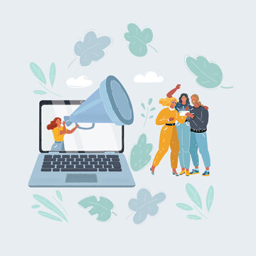 Vector illustration of content marketing is attract people into blog or place. Woman with big megaphone inform people from laptop screen.