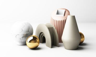 modern geometric shape 3d rendering