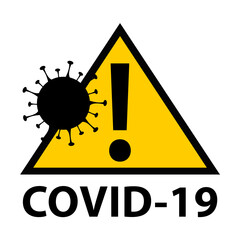Covid-19 coronavirus infected area. Yellow and black attention access zone panel with cell illustration.
