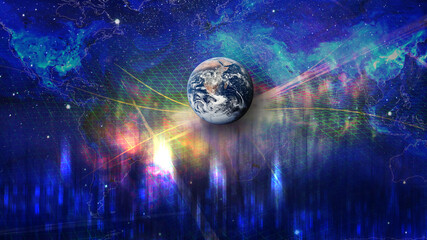 Planet Earth on the background of blurred lights of the city and world map. Concept on business, politics, ecology and media. Earth day abstract background. Elements of this image furnished by NASA.