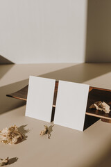Photo sur Plexiglas Inde Blank paper sheet cards with empty copy space and wooden tray, dry flowers with sunlight shadows on white background. Business mock up template.