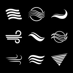 Air icon, symbol of wind energy. Vector sign