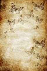 many butterflies over old brown paper with grunge texture with copy space like vintage romantic butterfly background