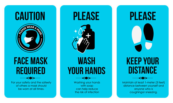 COVID Sign Poster Templates. Caution Card. Face mask required. Please Wash your hands. Keep your distance. For the bathroom, toilet, where a lot of people gather